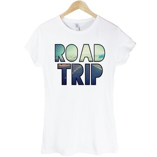 ROAD TRIP girls short-sleeved T-shirt - white travel photography photo LOMO Young Life Wen Qing own brand stylish fashion design