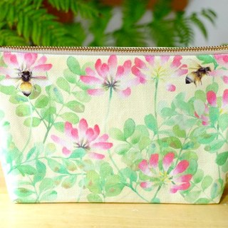 """Vetch and Bumblebees""  Medium Zipper Pouch Made Of Original Design Textile"