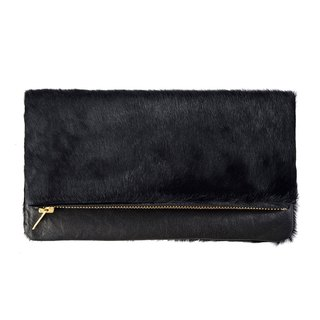 GWYNETH Clutch / Side Backpack _Black / Black Fur (Black / Black)