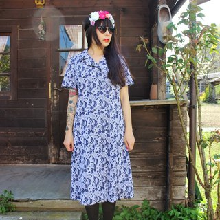 F902 (Vintage) dark blue background bubble circle pattern unique vintage fabric short-sleeved dress