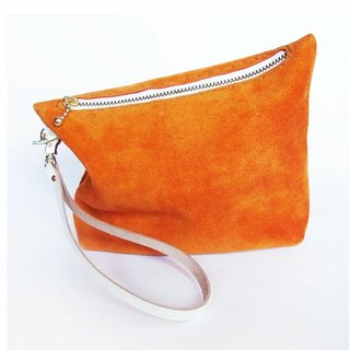 Orange suede leather pouch (small)