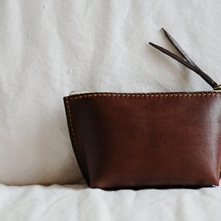 Hand Stitched Dark Brown Leather Pouch