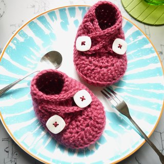 Handmade knit baby shoes - Elf series (pink)