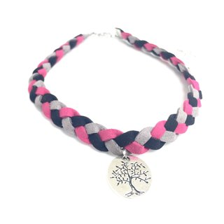 Purple pink tri-color gray suede twist braid - silver medallion