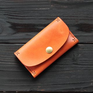 Rustic autumn maple red hand dyed yak leather handmade business card holder