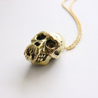 Golden Monkey Skull Pendant - Unique Brass Metal Work - Punk Rock Necklace