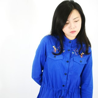humming-繡花抽繩洋裝-Embroidered Drawstring Shirtdress-HWD1305-01