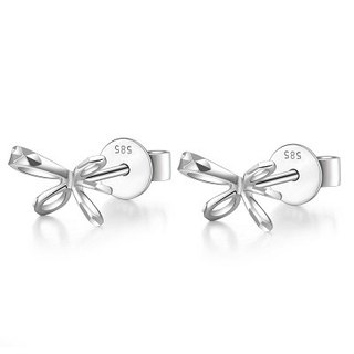 Hong Kong Design 14K / 585 white gold net gold bow earrings