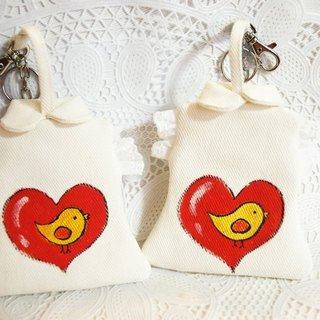 Hand painted badge set - cute bird