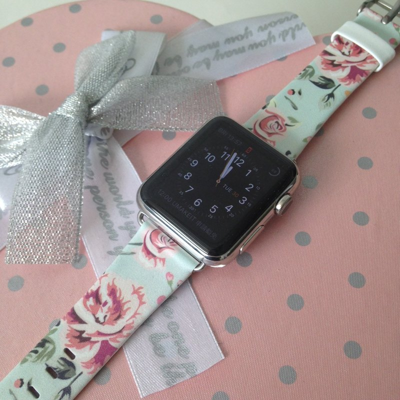 Apple Watch Series 1, Series 2 and Series 3  - Cyan Vintage Rose Floral Printed on Genuine Leather for Apple Watch Strap Band 38 / 42 mm - 21