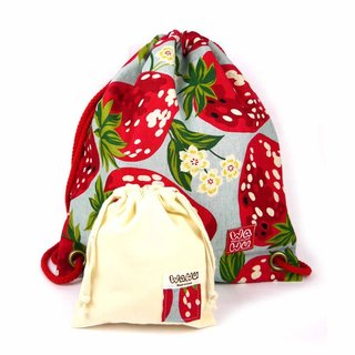 WaWu Drawstring backpack (Strawberry) Japan fabric