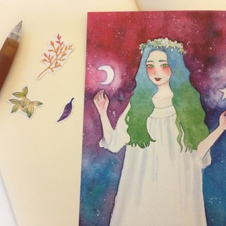 Watercolor painted - the presence of the moon and stars - Postcard