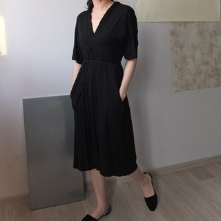 Elastic cotton black classic tailoring dress (can be customized maternity dress)
