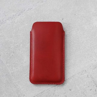 Red iPhone 7/8 Handmade natural genuine leather sleeve pouch case