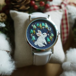 Department of Forest Animals - Rabbit Wreath embroidery leather watch / Accessories