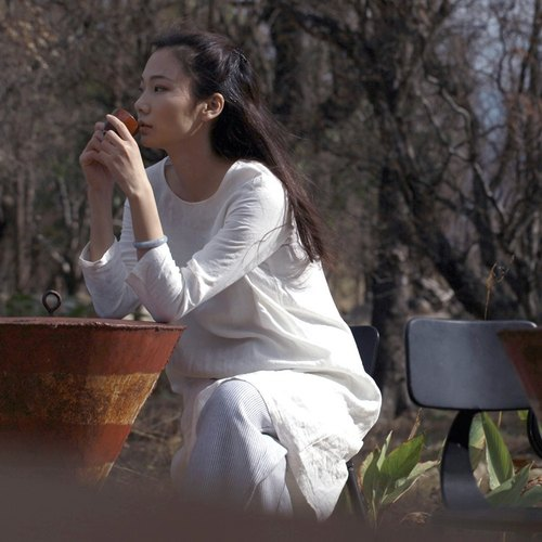 BUFU white linen long-sleeves dress  D140404