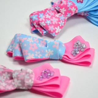 Colorful flowers asymmetric bow