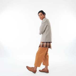 Sevenfold - Bicolor plaid stitching pant color checkered stitching trousers (brown)
