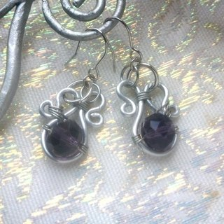 Wire Dance earrings - purple grape wine