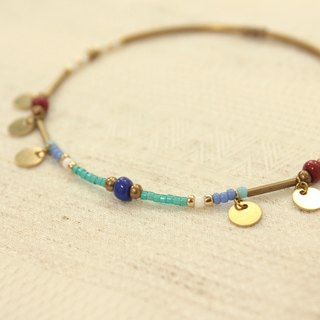 ◆hippie◆ Rom│Gypsy Wandering Enthic Color Disc Pendant Anklet