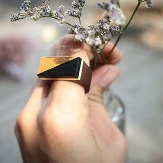 Geometric yellow&black wood ring