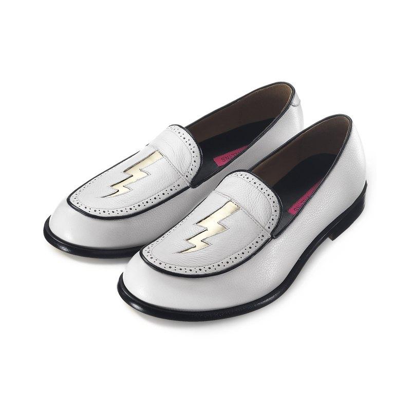 Sweet Villians M1136 手工真皮閃電樂福鞋 白色