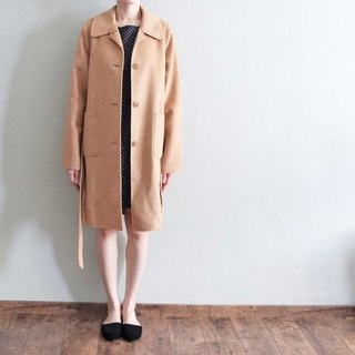 100% Double-containing thin camel cashmere coat {straps can be set for other color}