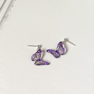 Translucent purple pattern hand-painted butterfly earrings