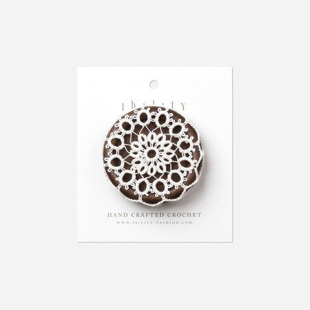 Crochet brooch Dandelion / Dandelion, Wooden Button Brooch with Crochet