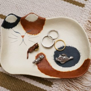 Compartment tray and paper cat - spent three small Japanese handmade ornaments debris disk storage tray small dish Mother's Day gift
