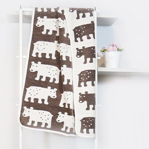 Warm blanket / baby blanket ► Sweden Klippan organic cotton blanket - Bear (coffee)