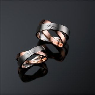 Intertwined melodies - custom engraved inscription silver rose gold plated face ring men and women ring