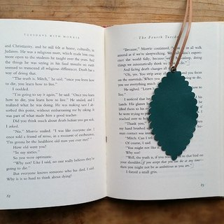 Leather leather - traveler bookmarks / strap / card (sheepskin grass dark green) - Free custom English name / Sentence typewriting service