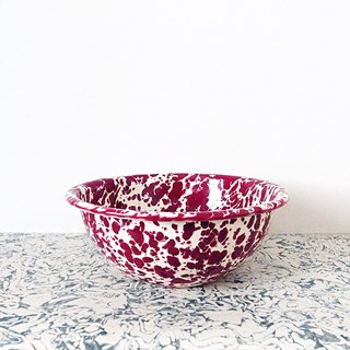 Enamel Bowl - Burgundy red and cream white marble