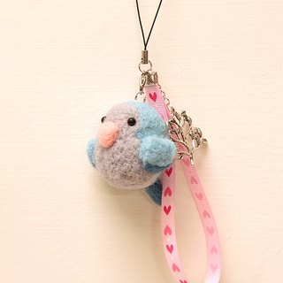 Rolia's hand-made blue monk parrot wool felt strap (can be customized)