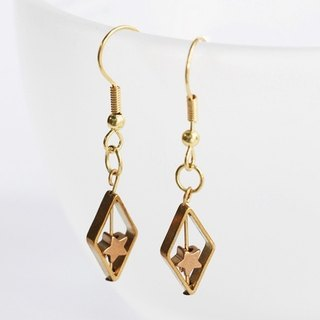 Geometry Series - Hope Star Brass Earrings Minimalist geometry. Personalized. Valentine's Day present. Birthday present.