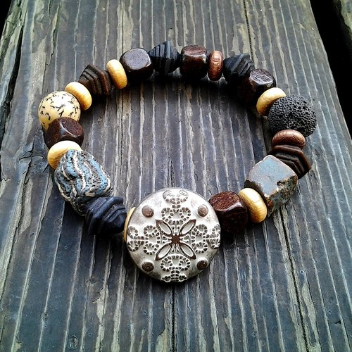 Muse natural retro national wind wooden beads ceramic bead bracelet clasp