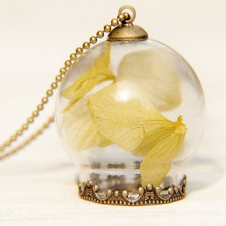 Valentine's Day gift / Forest Department / translucent glass ball dried flower necklace - Sunny yellow flowers