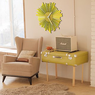 The Sun - stylish yellow / golden wooden wall clock, a piece of wall art