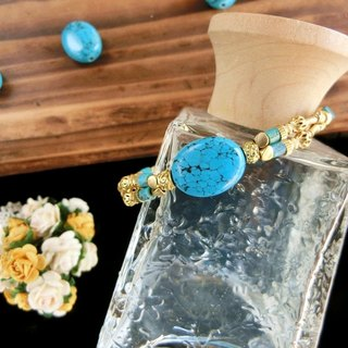 [Na UNA- excellent hand-made] fruit sugar series - blue turquoise bracelet ▲ ▲ natural stone brass Customized
