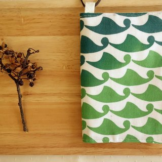 Kyoto fabric Passport Holder - waves (green)