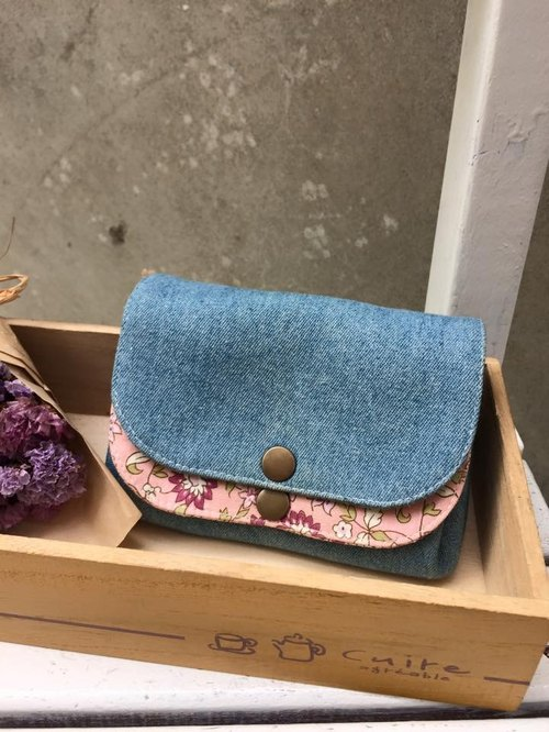 ﹝ Clare ﹞ handmade cloth small floral pink cowboy x double pressure deduction Clutch