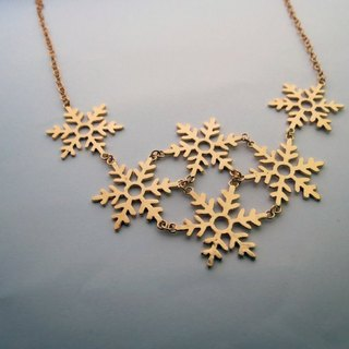 Snowflakes (k gold plated necklace) - C percent handmade jewelry