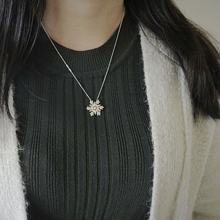 Christmas star snowflake (925 silver necklace) - C percent handmade jewelry