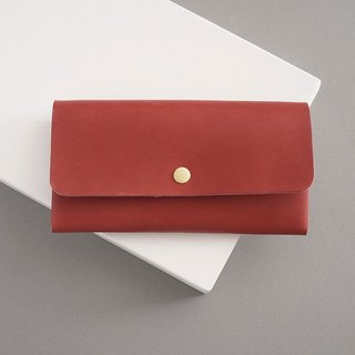 """RENÉE"" minimalist light card long clip / wallet / wallet plant tanning carving leather / vegetable tanning / vegetable tanning warm red"