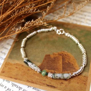 Journal (White Sea logs) - ah kelp kelp / silver hand-made, natural emerald bracelet bracelet