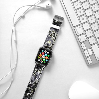 Apple Watch Series 1 , Series 2, Series 3 - Black Floral Watch Strap Band for Apple Watch / Apple Watch Sport - 38 mm / 42 mm avilable