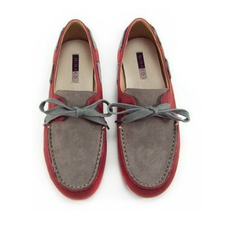 Two Tone Boat Shoes M1106A GreyBurgundy
