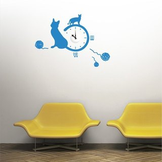 Smart Design Creative Wall Sticker - Cat Time 8 Colors (Taiwan Clock Movement Included)