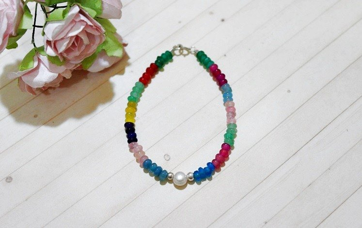Natural stone x silver coin bracelet _ rainbow nation can be changed elastic bracelet // //